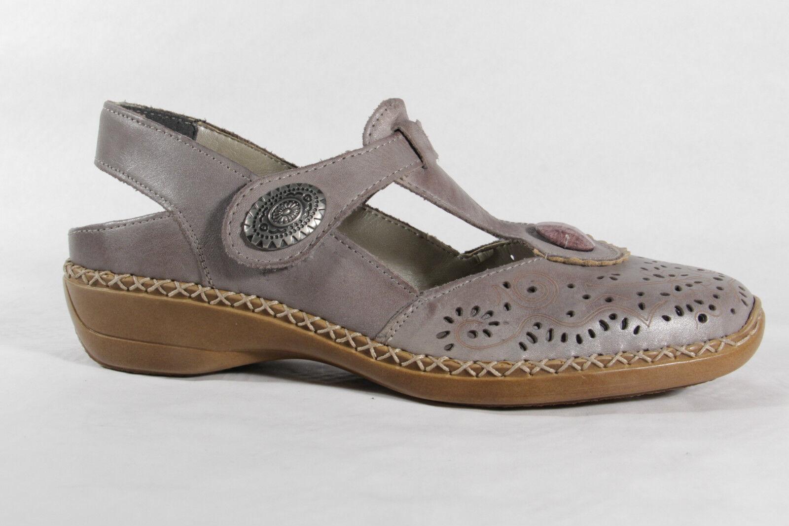 Rieker  Damen Slipper/ Sling/ Sandale,  Rieker weiche Lederinnensohle, grau, NEU d5ef97