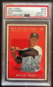 Roger Maris 1961 Topps #478 Signed NY Yankees AUTO PSA 5 AUTO 10
