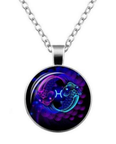 mixte. pendentif médaillon signe du zodiaque constellation poissons Collier