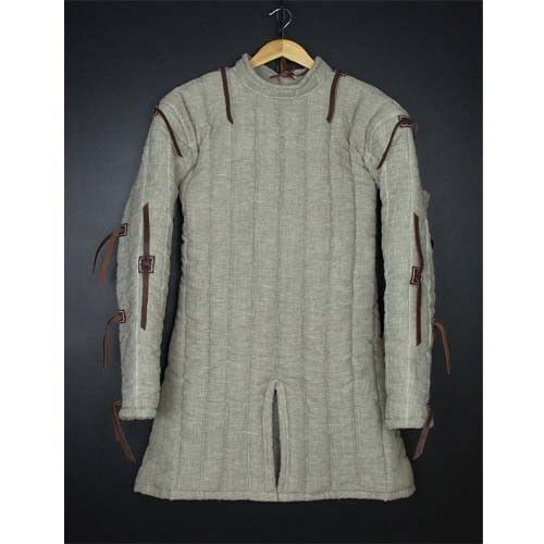 MEDIEVAL WHITE COLOR ARMING JACKET ARMOR GOTHIC FANTASY MAN GAMBESON