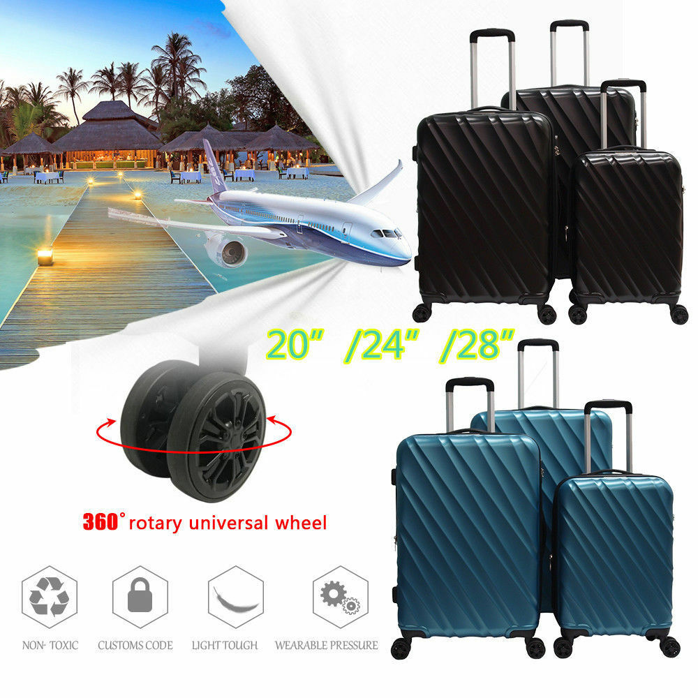 "0d6d4953b695 Super Light ABS Hard Shell 3 PCS Travel Luggage Set Hardside Spinner 20""  24"" 28"""
