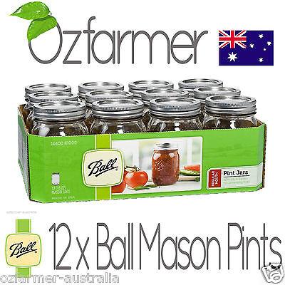 12 Ball Mason Regular Mouth Pint 500ml Jars Canning Storage Weddings Food Grade