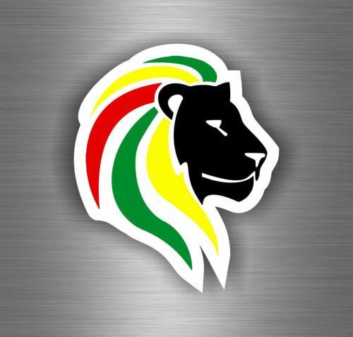 Autocollant sticker voiture rasta  reggae one love lion drapeau jamaique ref12