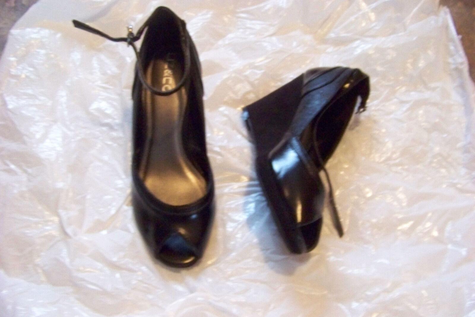 womens liz & co black open toe ankle strap size fabric wedge heels shoe size strap 6 af1d9b