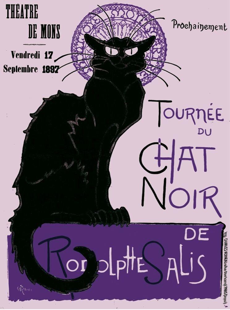 6054.Theatre de mons.Tourné du chat schwarz.rodolphe salis.POSTER.Home Office art