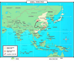 Map Of Asia 1941.166 Asia 1930 1941 Ebay