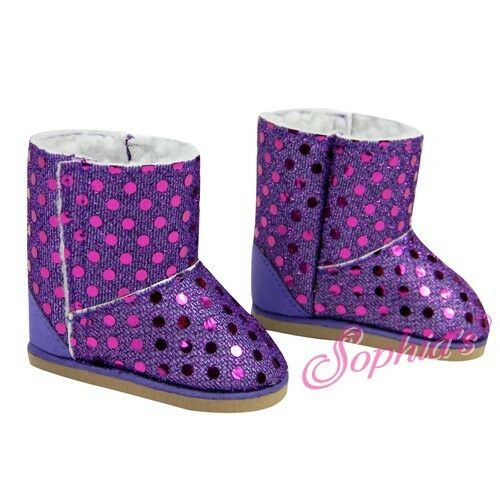BOOTS SHOES  fit American Girl Dolls PURPLE SPARKLE EWE sequins sequins bling