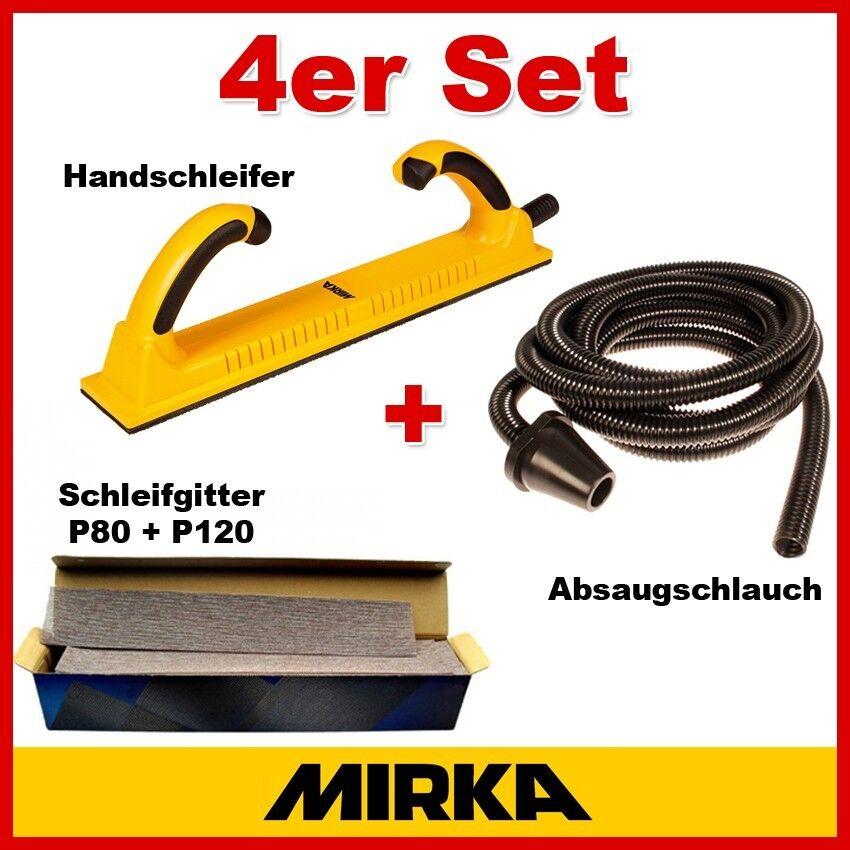 Mirka Set Handfeile 70x400mm Abranet P80 P120 Streifen 70x420mm Absaugschlauch