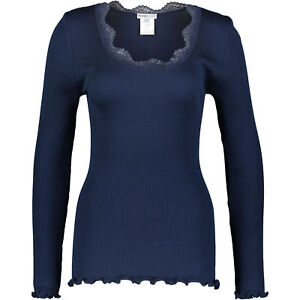FEMME-SEVEN-Women-039-s-BERLIN-Ribbed-Long-Sleeve-Top-Silk-Mix-Blue-size-Large