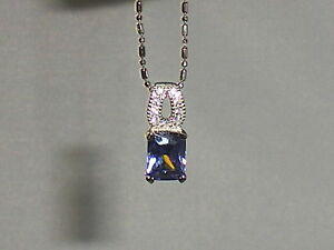 Ladies-Sterling-925-Solid-Silver-Baguette-Cut-Tanzanite-amp-White-Sapphire-Pendant