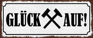 Glück On! Tin Sign Shield Arched Metal 10 X 27 CM K1982