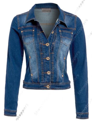 NEW DENIM JACKET Women Jeans Waist Jackets LADIES Mid Wash Blue Size 8 10 14 16