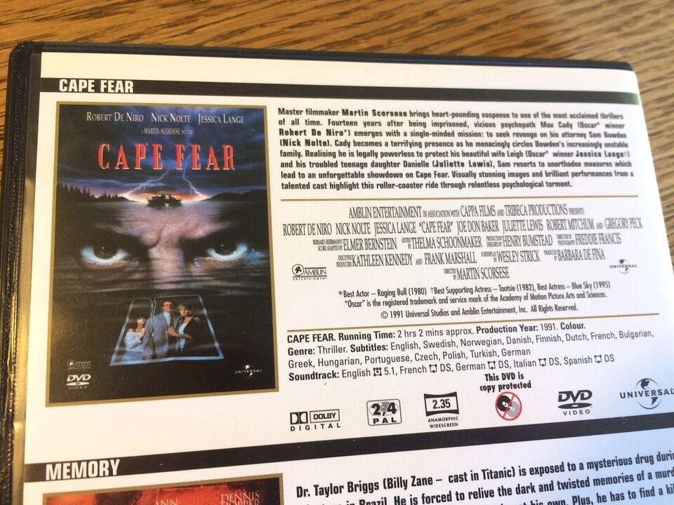 Cape Fear + Memory, DVD, thriller