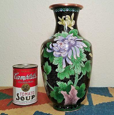 "10 1/2"" chinese chrysanthemum lavender cloisenne black copper pink vtg rose vase"