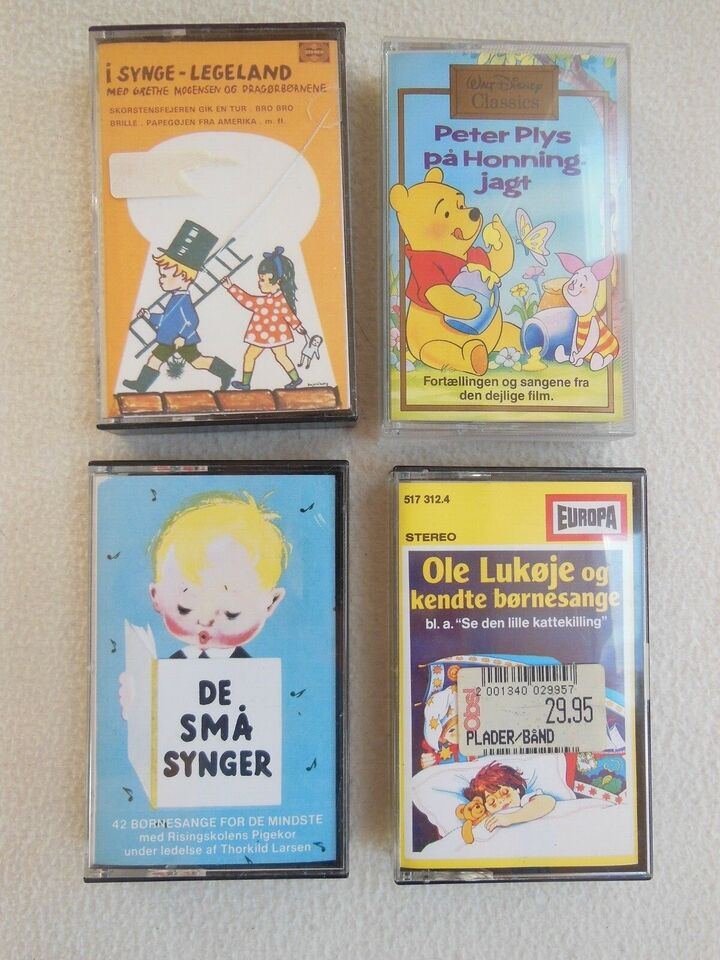 Børne musik og popmusik på kasette bånd: børne musik og