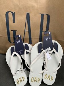 NWT GAP Womens Flip Flops White with Gold Logo US Size 8 Original GAP