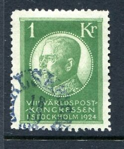 SWEDEN-1924-1k-GREEN-SG-158-VERY-FINE-USED-A-SCARCE-STAMP-IN-SUCH-CONDITION