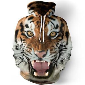 a6ee302eb30c Homme Femme 3D Imprimé Tigre Graphique Sweat Capuche Veste ...