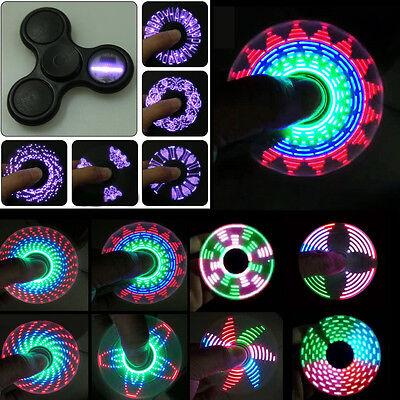 LED Rainbow Light Tri Fidget Hand Spinner Triangle Toy EDC Focus ADHD