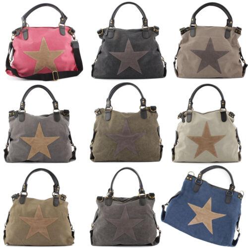 Trendy Damen Große Hand Schulter Umhänge Tasche Vintage Shopper Star Stern NEU