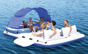6 persona isla Flotante Inflable Piscina Lago Fiesta dosel balsa Lounge W Cooler