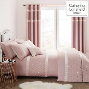 Catherine-Lansfield-lentejuelas-Cluster-Blush-Conjunto-de-Edredon-Reversible-Ropa-De-Cama-Cortina