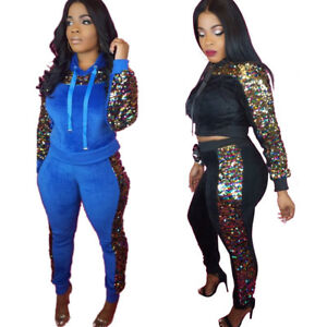 f579ec9990a Image is loading Women-Hooded-Long-Sleeves-Sequins-Patchwork-Casual-Club-