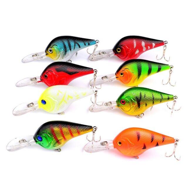 8PCS Mix Fishing Bass Fish Floating Minnow Crankbaits lure hook baits 5cm//3.6g
