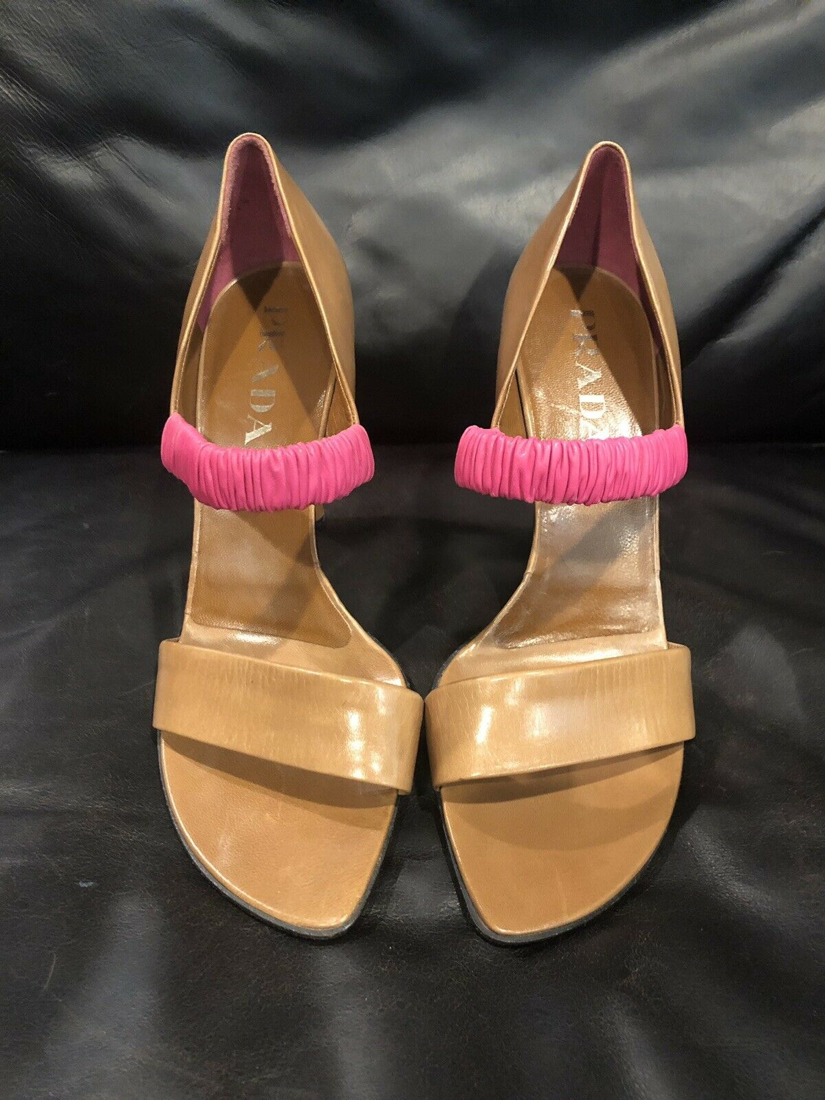 PRADA Tan Heels With Pink Leather Elastic Strap- Size 39 US 8.5