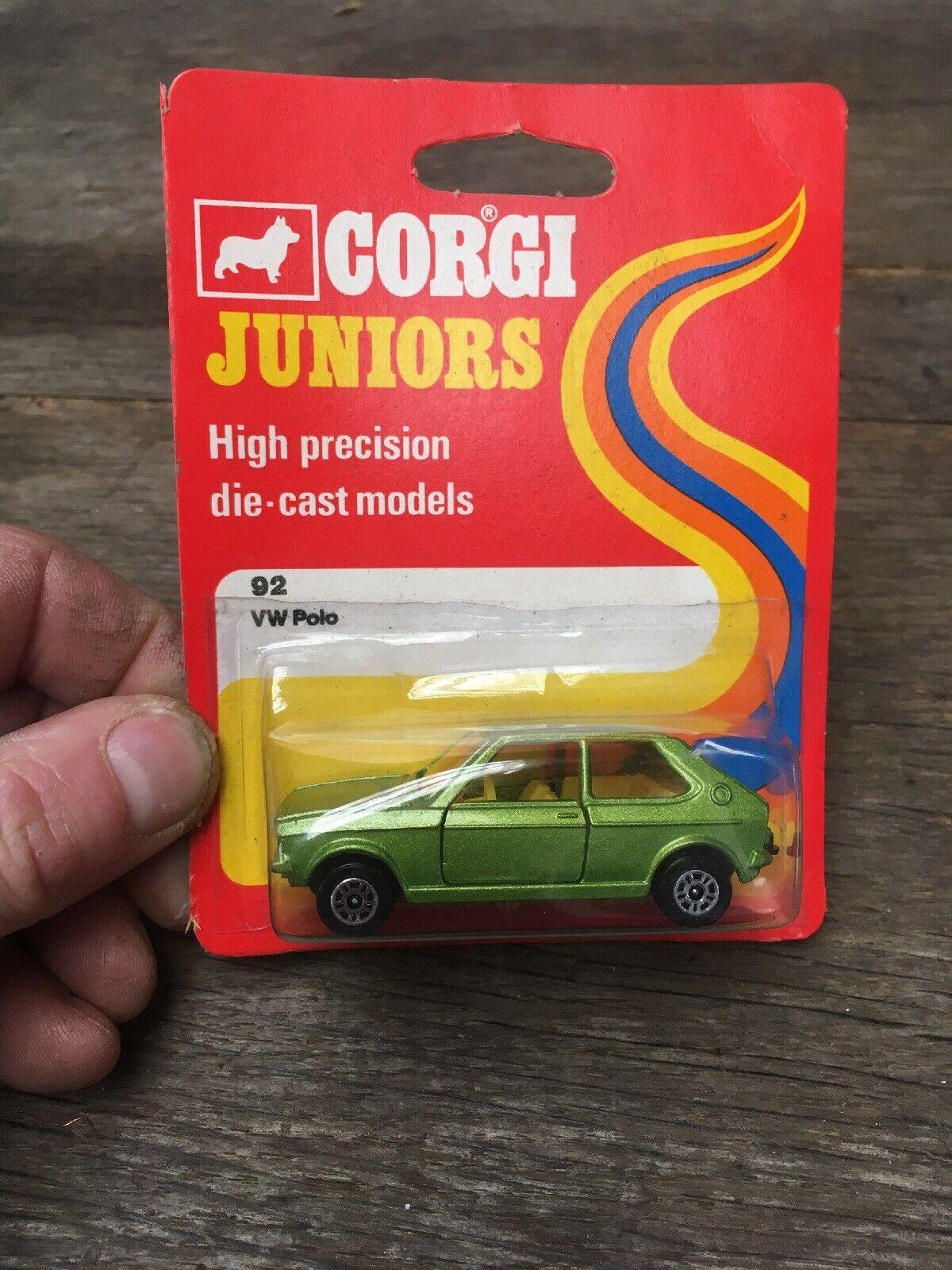 CORGI JUNIORS No.92 Volkswagen VW Polo Vert Métallique 1976 BLISTER boxed