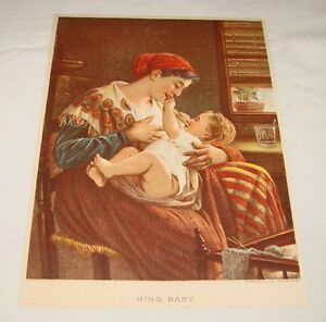 1887-lithograph-KING-BABY-Mother-And-Child