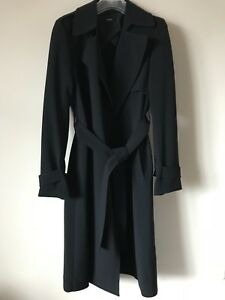 d31b70612b $595 NWT Theory Oaklane Black Belted Crepe Trench Coat Size M | eBay