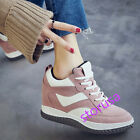 Women Wedge Hidden Heel Athletic Shoes Comfy Fashion Sneakers Lace UP Sports New