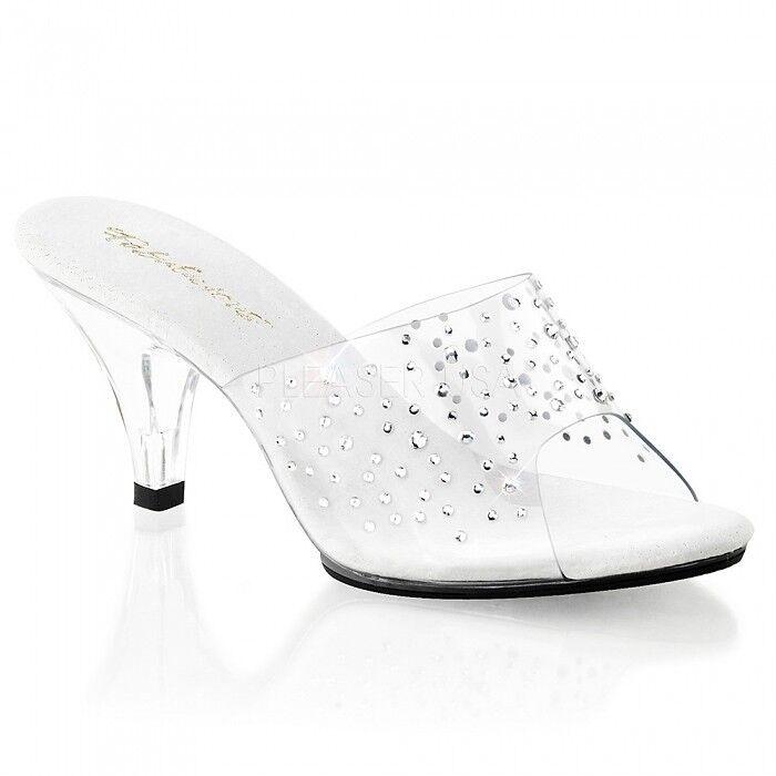 Pantolette Strass tranparent klar Gr. 41 US 10 Schneewittchen Schuhe bequem