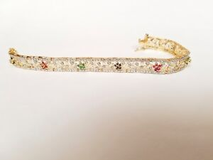 Sterling-Silver-Gold-plated-bracelet-with-genuine-Sapphire-Rubies-and-Emerald