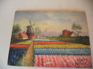 Antique-Dutch-Landscape-Tulips-Windmill-Painting-on-Board-Signed-A-Martens-2