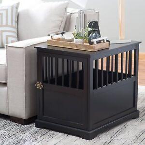 Large-Indoor-Wood-Dog-Pet-Crate-End-Table-Black-Living-Room-Bedroom