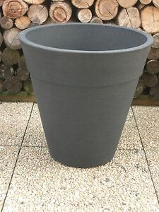 Pflanzkuebel-Blumenkuebel-50cm-hoch-Anthrazit-Kunststoff-Schieferoptik