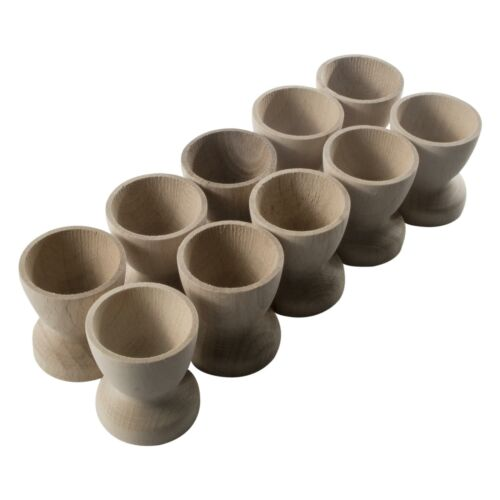 Classic Wooden Egg Cups Natural Beech Crafts Breakfast Wedding Holder Stands