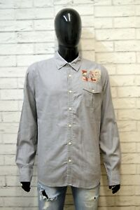 NAPAPIJRI-Camicia-Blu-Uomo-Taglia-XL-Maglia-Camicetta-Manica-Lunga-Shirt-Man
