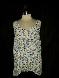TORRID-Plus-Size-0-0X-Tank-Top-White-Blue-Gray-Floral-Sleeveless