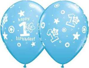 """Age 1st Blue Birthday Boy Qualatex 11"""" Latex Balloons x 1, 5 or 10, from 99p"""