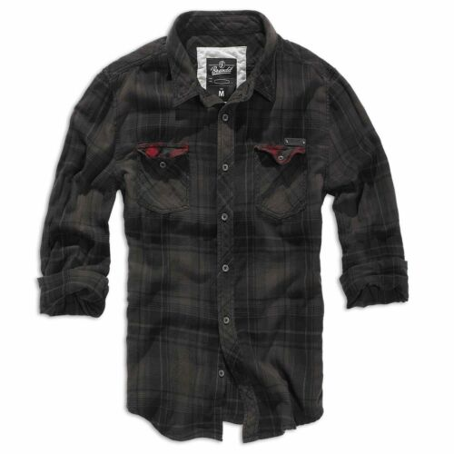 Brandit Duncan Check Shirt Mens Vintage Flannel Long Sleeve Check Brown Black