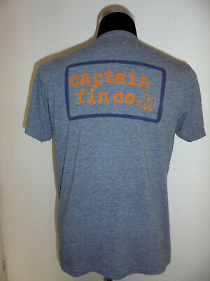 Vintage Captain Fin Co. T-shirt Shirt Heather Grey Captain Fin Grau Gr.l (m)