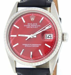 Details About Rolex Datejust 1603 Men Stainless Steel Watch Black Engine Turned Bezel Red Dial