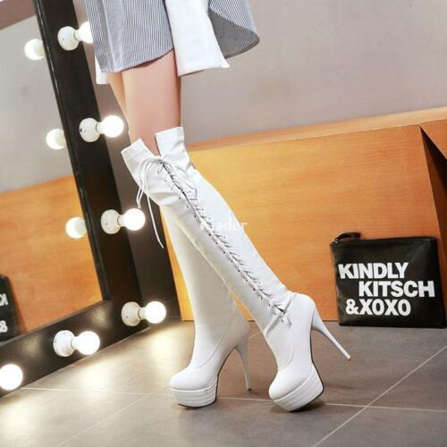 New Womens Platform Strappy Over Knee Thigh Boots Stilettos High Heels Shoes Hot