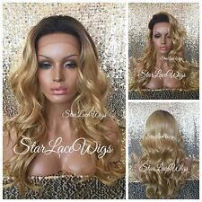 Honey Blonde Lace Front Wig Dark Root Long Lose Wave Heat Safe Ok
