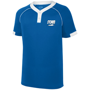 Storm Men's Invasion Performance Crew Bowling Shirt Dri-Fit Royal bluee