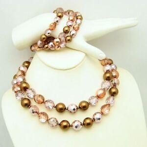 Vintage-2-Multi-Strand-Glass-Bead-Necklace-3-Strand-Bracelet-Pink-Copper-Crystal