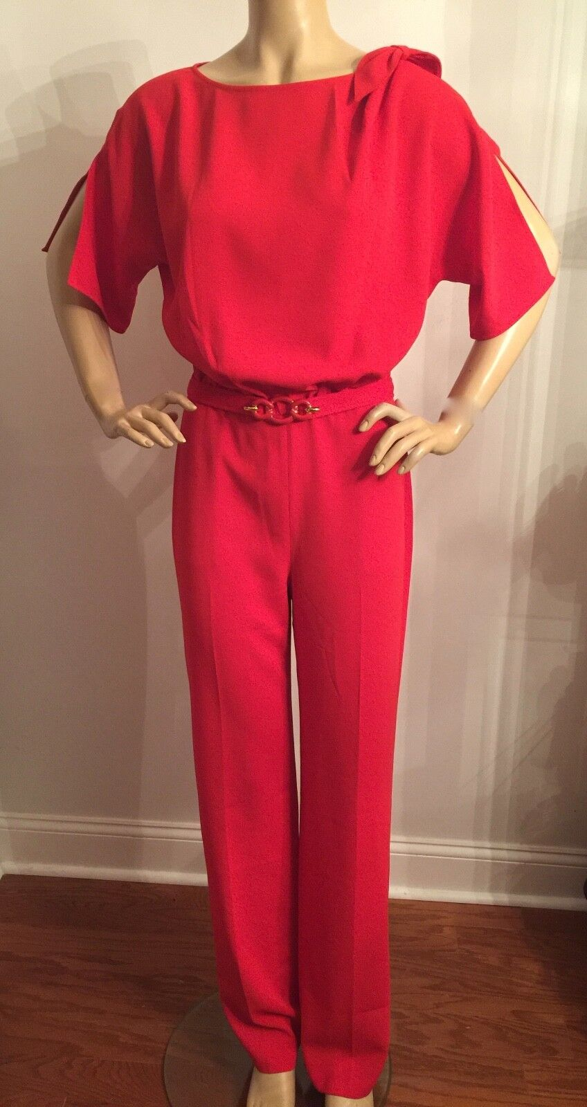 NEW ST JOHN KNIT SIZE 2 WOMENS JUMP SUIT PANTS AFRICAN RED
